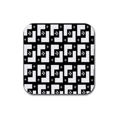 Abstract Pattern Background  Wallpaper In Black And White Shapes, Lines And Swirls Rubber Coaster (square)