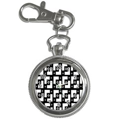 Abstract Pattern Background  Wallpaper In Black And White Shapes, Lines And Swirls Key Chain Watches