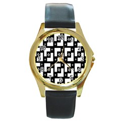 Abstract Pattern Background  Wallpaper In Black And White Shapes, Lines And Swirls Round Gold Metal Watch