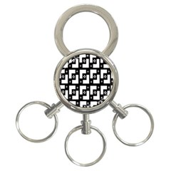 Abstract Pattern Background  Wallpaper In Black And White Shapes, Lines And Swirls 3-Ring Key Chains