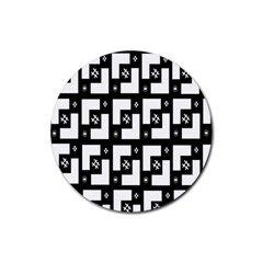 Abstract Pattern Background  Wallpaper In Black And White Shapes, Lines And Swirls Rubber Coaster (Round)