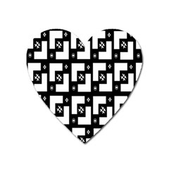 Abstract Pattern Background  Wallpaper In Black And White Shapes, Lines And Swirls Heart Magnet