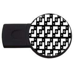 Abstract Pattern Background  Wallpaper In Black And White Shapes, Lines And Swirls USB Flash Drive Round (1 GB)