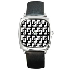 Abstract Pattern Background  Wallpaper In Black And White Shapes, Lines And Swirls Square Metal Watch