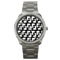 Abstract Pattern Background  Wallpaper In Black And White Shapes, Lines And Swirls Sport Metal Watch