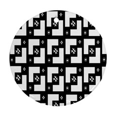 Abstract Pattern Background  Wallpaper In Black And White Shapes, Lines And Swirls Round Ornament (Two Sides)