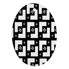 Abstract Pattern Background  Wallpaper In Black And White Shapes, Lines And Swirls Oval Ornament (two Sides)