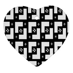 Abstract Pattern Background  Wallpaper In Black And White Shapes, Lines And Swirls Heart Ornament (two Sides)