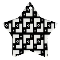 Abstract Pattern Background  Wallpaper In Black And White Shapes, Lines And Swirls Star Ornament (two Sides)