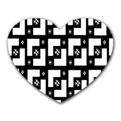 Abstract Pattern Background  Wallpaper In Black And White Shapes, Lines And Swirls Heart Mousepads