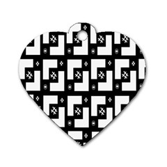 Abstract Pattern Background  Wallpaper In Black And White Shapes, Lines And Swirls Dog Tag Heart (one Side)