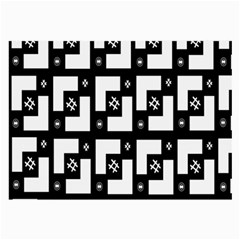 Abstract Pattern Background  Wallpaper In Black And White Shapes, Lines And Swirls Large Glasses Cloth