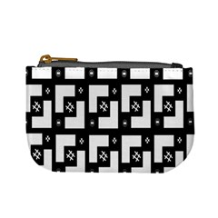 Abstract Pattern Background  Wallpaper In Black And White Shapes, Lines And Swirls Mini Coin Purses