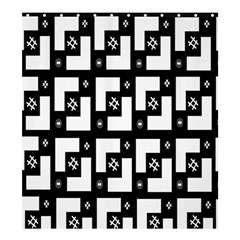 Abstract Pattern Background  Wallpaper In Black And White Shapes, Lines And Swirls Shower Curtain 66  x 72  (Large)