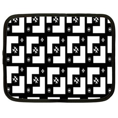 Abstract Pattern Background  Wallpaper In Black And White Shapes, Lines And Swirls Netbook Case (xxl)