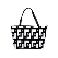 Abstract Pattern Background  Wallpaper In Black And White Shapes, Lines And Swirls Shoulder Handbags
