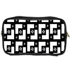 Abstract Pattern Background  Wallpaper In Black And White Shapes, Lines And Swirls Toiletries Bags