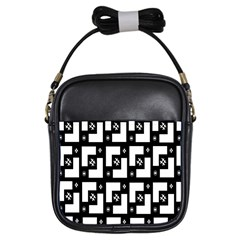 Abstract Pattern Background  Wallpaper In Black And White Shapes, Lines And Swirls Girls Sling Bags