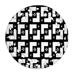 Abstract Pattern Background  Wallpaper In Black And White Shapes, Lines And Swirls Round Filigree Ornament (two Sides)