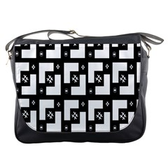 Abstract Pattern Background  Wallpaper In Black And White Shapes, Lines And Swirls Messenger Bags