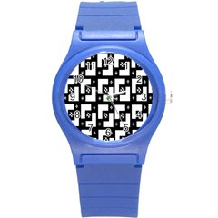 Abstract Pattern Background  Wallpaper In Black And White Shapes, Lines And Swirls Round Plastic Sport Watch (s)