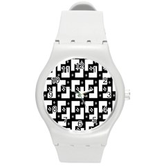 Abstract Pattern Background  Wallpaper In Black And White Shapes, Lines And Swirls Round Plastic Sport Watch (m)