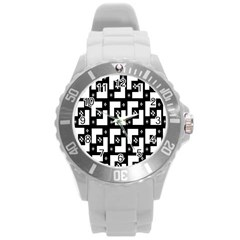 Abstract Pattern Background  Wallpaper In Black And White Shapes, Lines And Swirls Round Plastic Sport Watch (l)