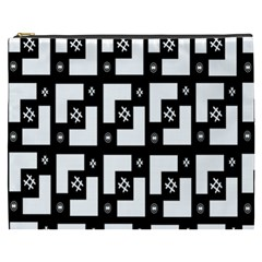 Abstract Pattern Background  Wallpaper In Black And White Shapes, Lines And Swirls Cosmetic Bag (xxxl)