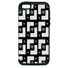 Abstract Pattern Background  Wallpaper In Black And White Shapes, Lines And Swirls Apple iPhone 5 Hardshell Case (PC+Silicone)