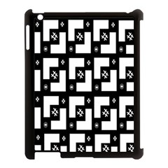 Abstract Pattern Background  Wallpaper In Black And White Shapes, Lines And Swirls Apple iPad 3/4 Case (Black)