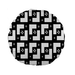 Abstract Pattern Background  Wallpaper In Black And White Shapes, Lines And Swirls Standard 15  Premium Round Cushions