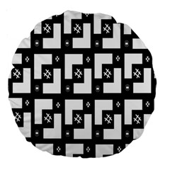 Abstract Pattern Background  Wallpaper In Black And White Shapes, Lines And Swirls Large 18  Premium Round Cushions