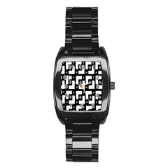 Abstract Pattern Background  Wallpaper In Black And White Shapes, Lines And Swirls Stainless Steel Barrel Watch