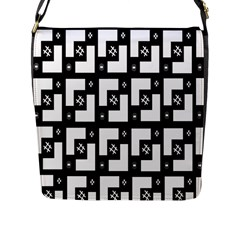 Abstract Pattern Background  Wallpaper In Black And White Shapes, Lines And Swirls Flap Messenger Bag (L)