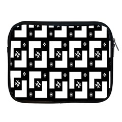 Abstract Pattern Background  Wallpaper In Black And White Shapes, Lines And Swirls Apple iPad 2/3/4 Zipper Cases