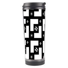 Abstract Pattern Background  Wallpaper In Black And White Shapes, Lines And Swirls Travel Tumbler