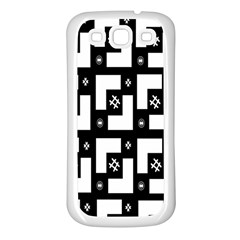 Abstract Pattern Background  Wallpaper In Black And White Shapes, Lines And Swirls Samsung Galaxy S3 Back Case (White)