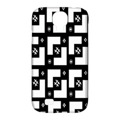 Abstract Pattern Background  Wallpaper In Black And White Shapes, Lines And Swirls Samsung Galaxy S4 Classic Hardshell Case (PC+Silicone)