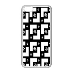 Abstract Pattern Background  Wallpaper In Black And White Shapes, Lines And Swirls Apple iPhone 5C Seamless Case (White)