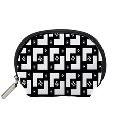 Abstract Pattern Background  Wallpaper In Black And White Shapes, Lines And Swirls Accessory Pouches (Small)