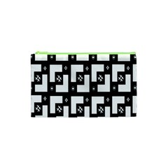 Abstract Pattern Background  Wallpaper In Black And White Shapes, Lines And Swirls Cosmetic Bag (xs)