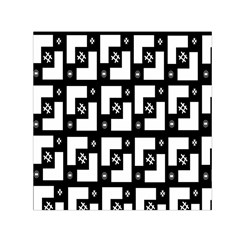 Abstract Pattern Background  Wallpaper In Black And White Shapes, Lines And Swirls Small Satin Scarf (Square)