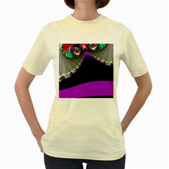 Fractal Background For Scrapbooking Or Other Women s Yellow T-Shirt