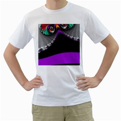 Fractal Background For Scrapbooking Or Other Men s T-Shirt (White) (Two Sided)