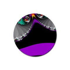 Fractal Background For Scrapbooking Or Other Rubber Coaster (round)