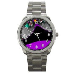 Fractal Background For Scrapbooking Or Other Sport Metal Watch