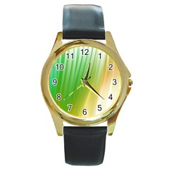 Folded Digitally Painted Abstract Paint Background Texture Round Gold Metal Watch