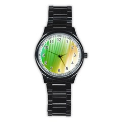 Folded Digitally Painted Abstract Paint Background Texture Stainless Steel Round Watch
