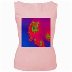 Digital Fractal Spiral Women s Pink Tank Top