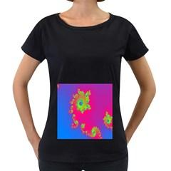 Digital Fractal Spiral Women s Loose Fit T Shirt (black)